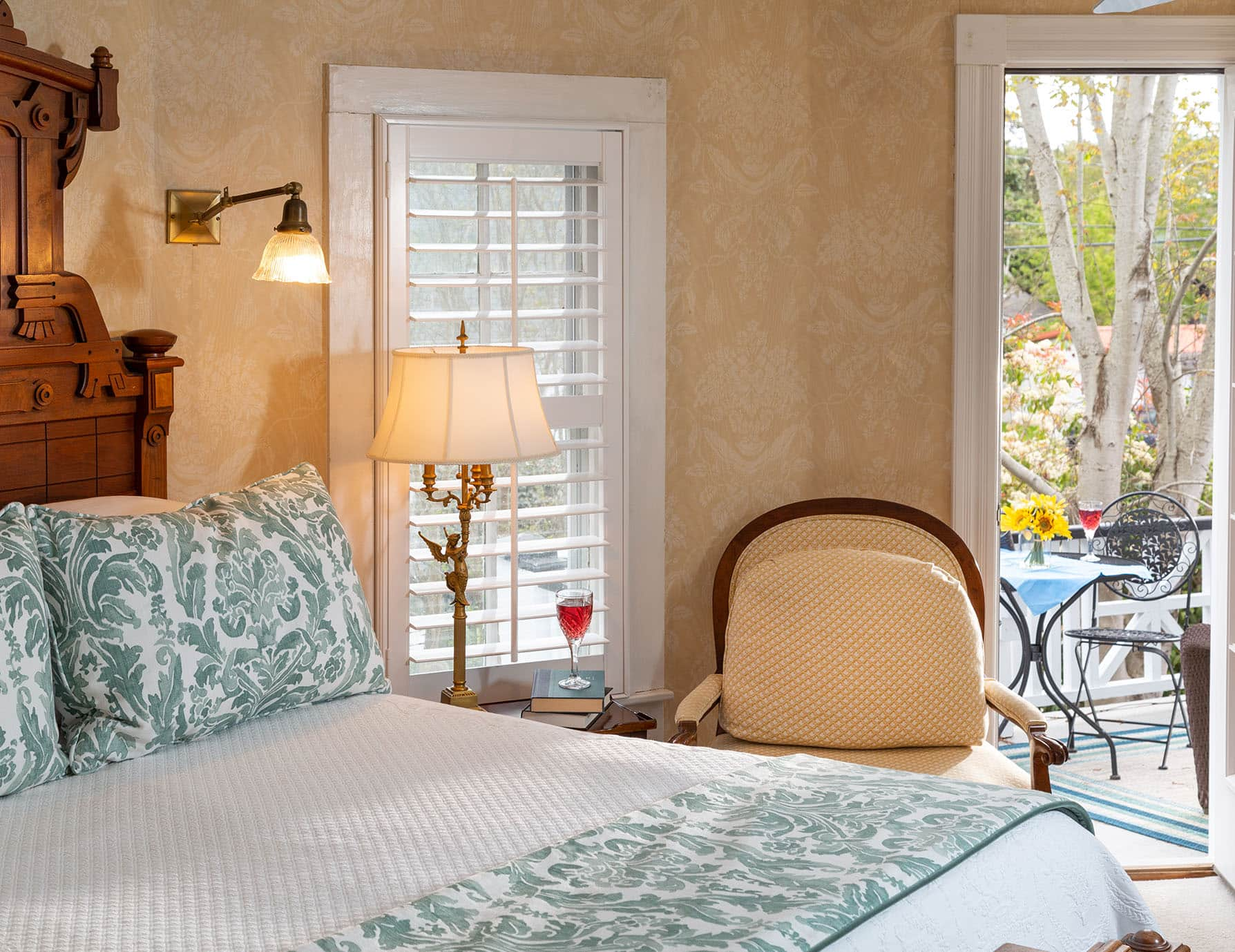 Queen Bed, Fireplace and Private Patio at Our Roanoke Island B&B