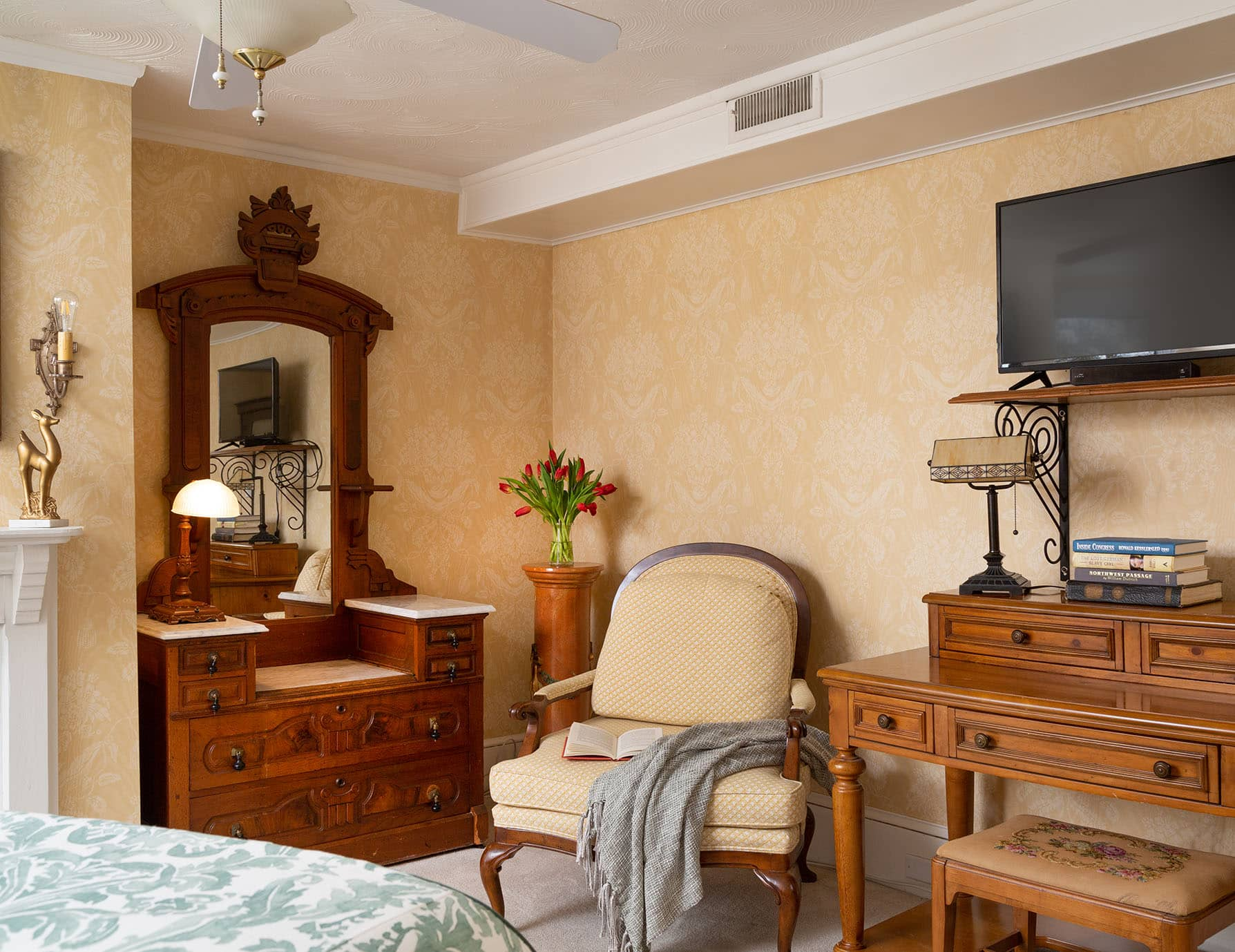 Wooden Cabinet and Chair at Our Roanoke Island Inn