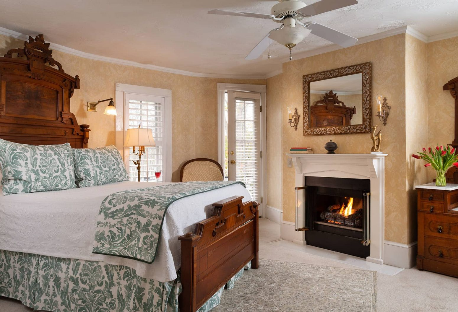 Queen Room with Fireplace at Our Outer Banks Bed and Breakfast