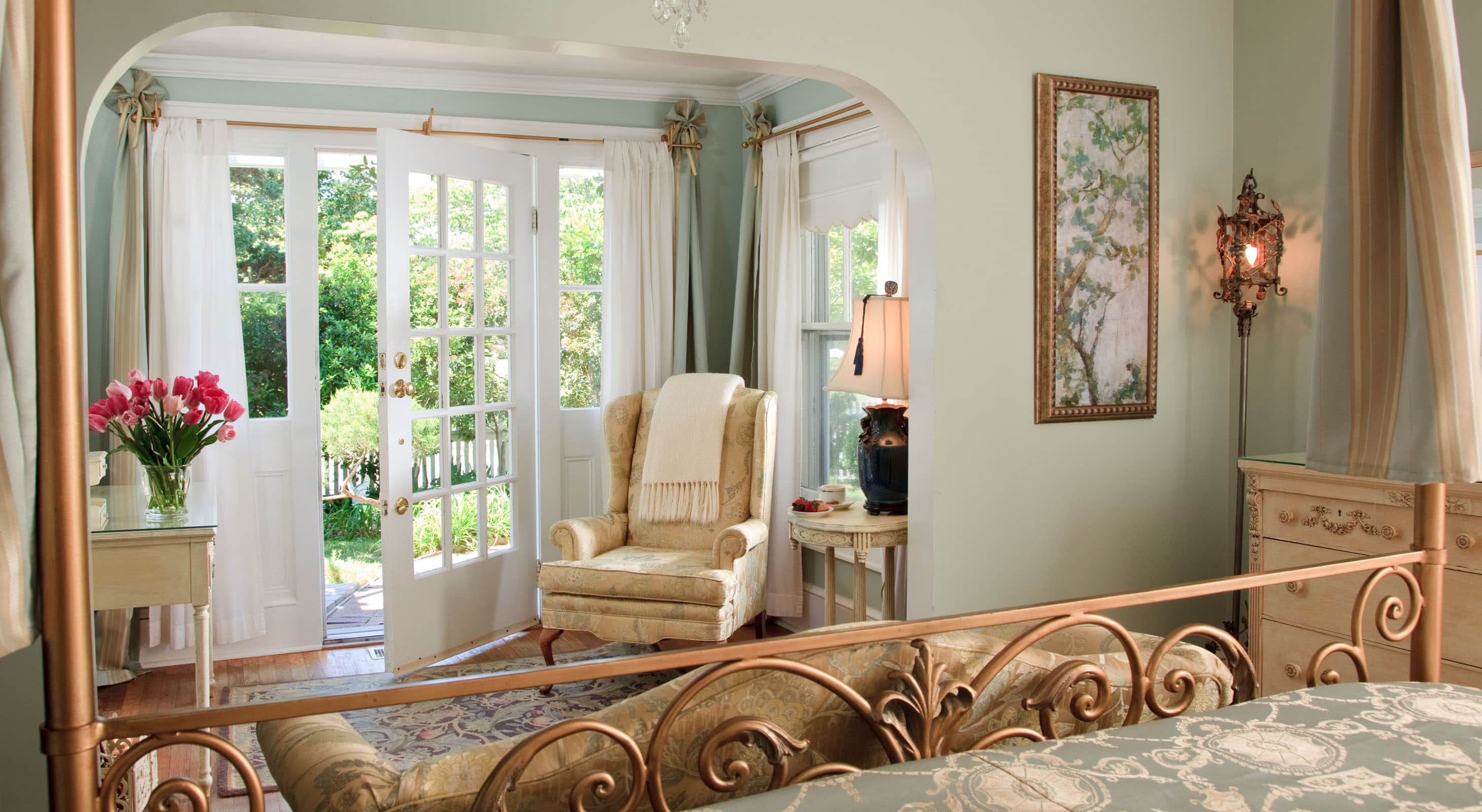 Golden King Bedroom with Private Garden Door at Our B&B on the Outer Banks