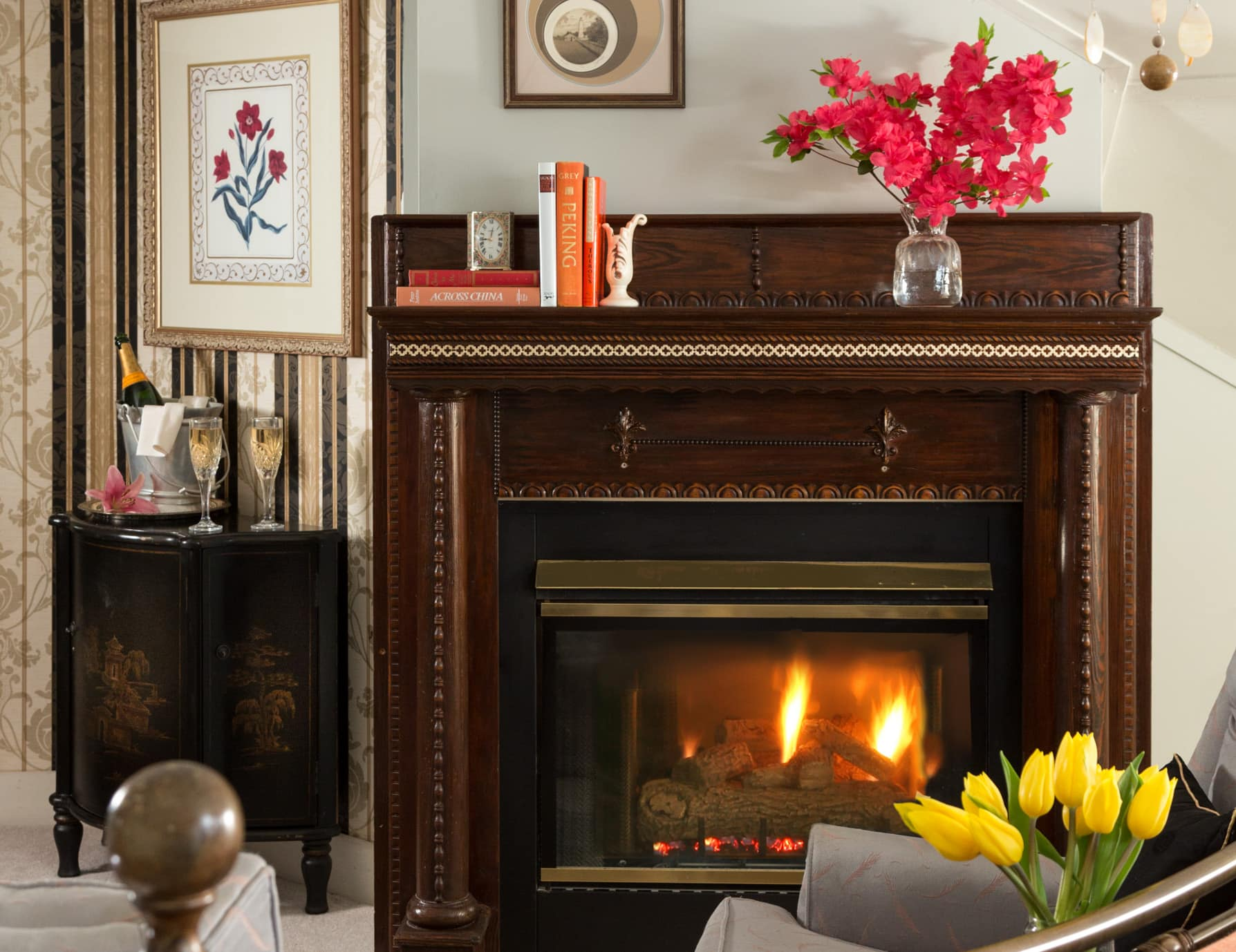 Cozy Gas Fireplace at Our Inn in Manteo, North Carolina