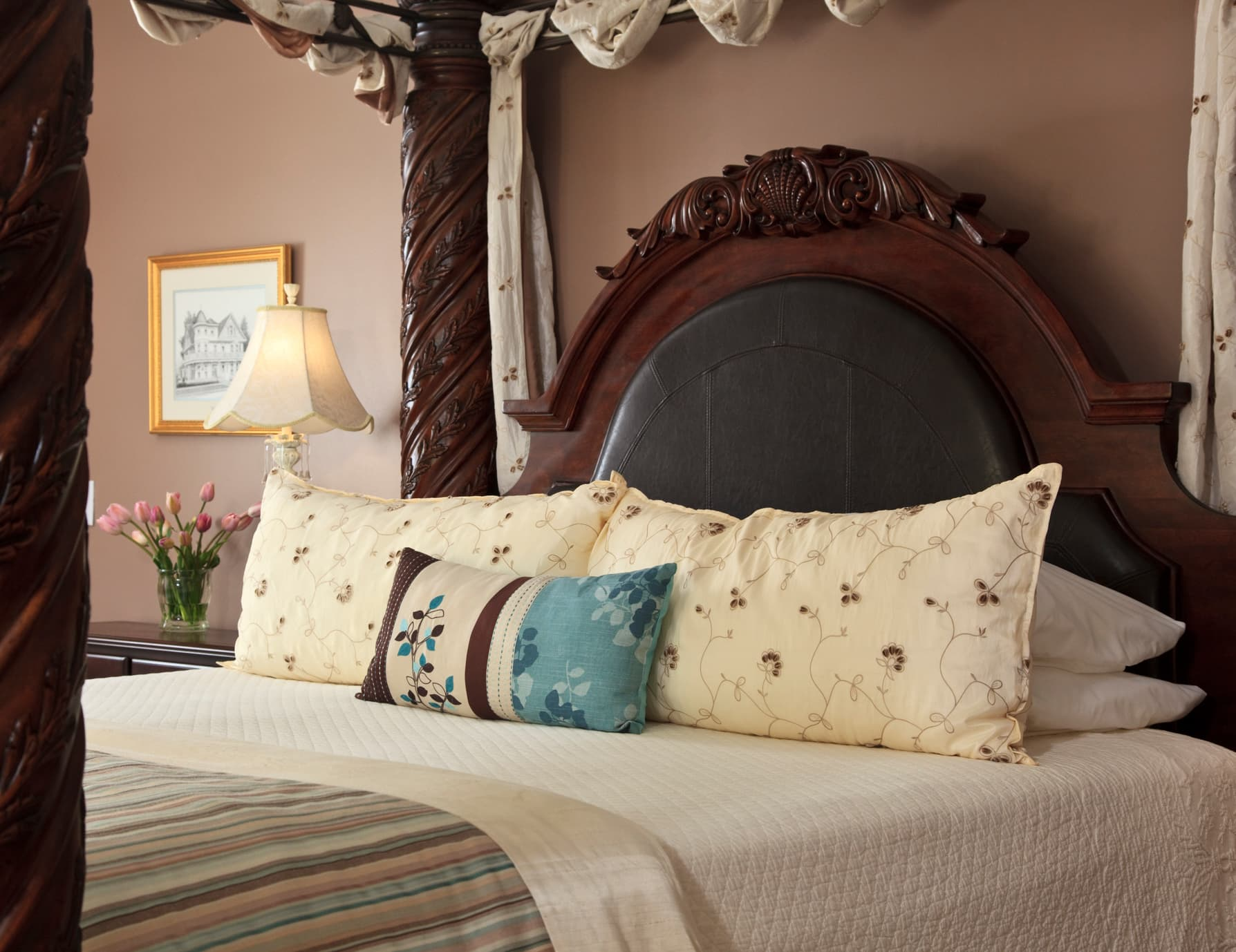 B&B on Roanoke Island Sturdy King Four Poster Bed and Side Tables