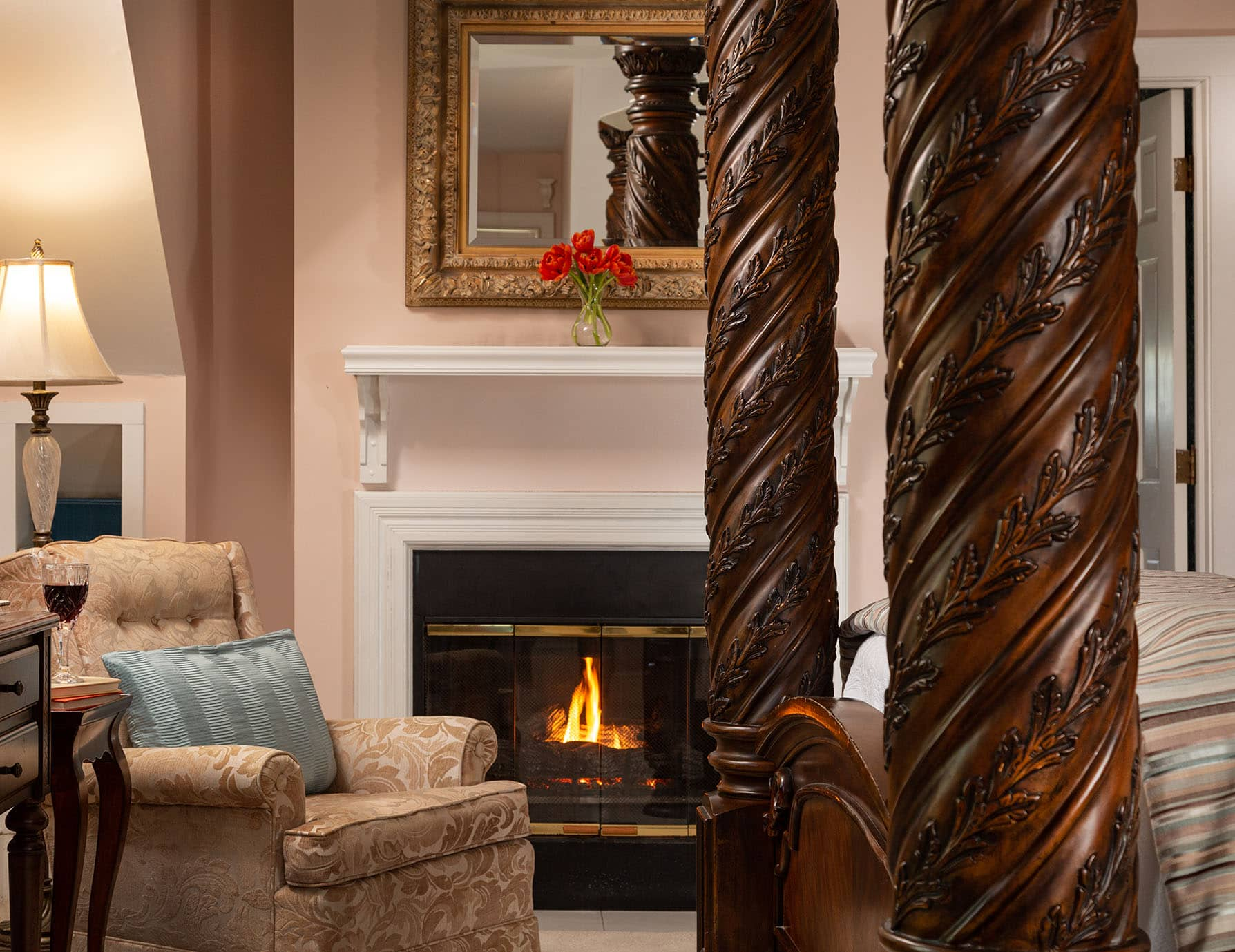 Cozy Fireplace and Seating Area at Our Roanoke Island Lodging