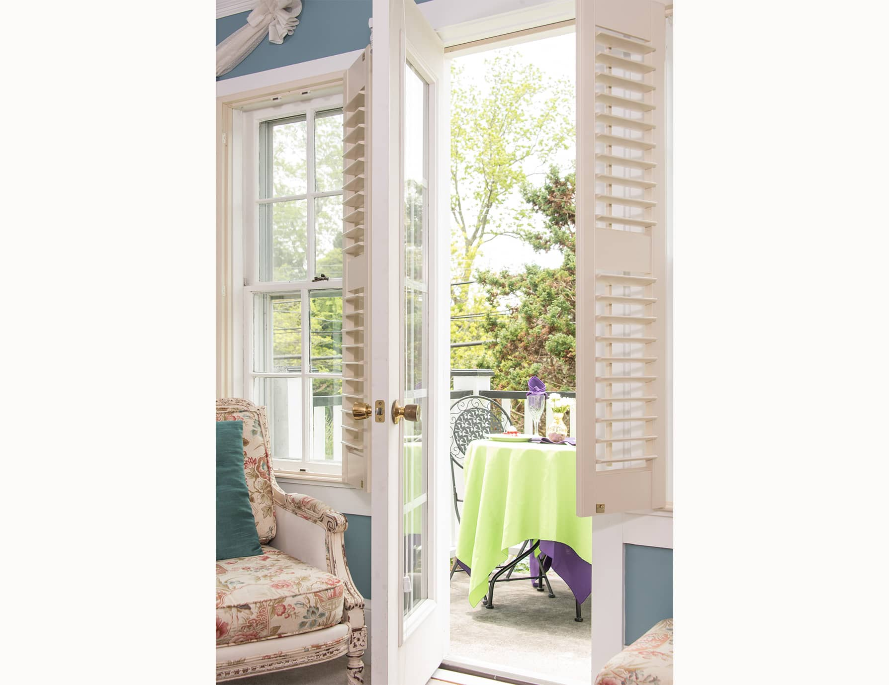 Double Doors to Private Patio at Our Roanoke Island Bed and Breakfast