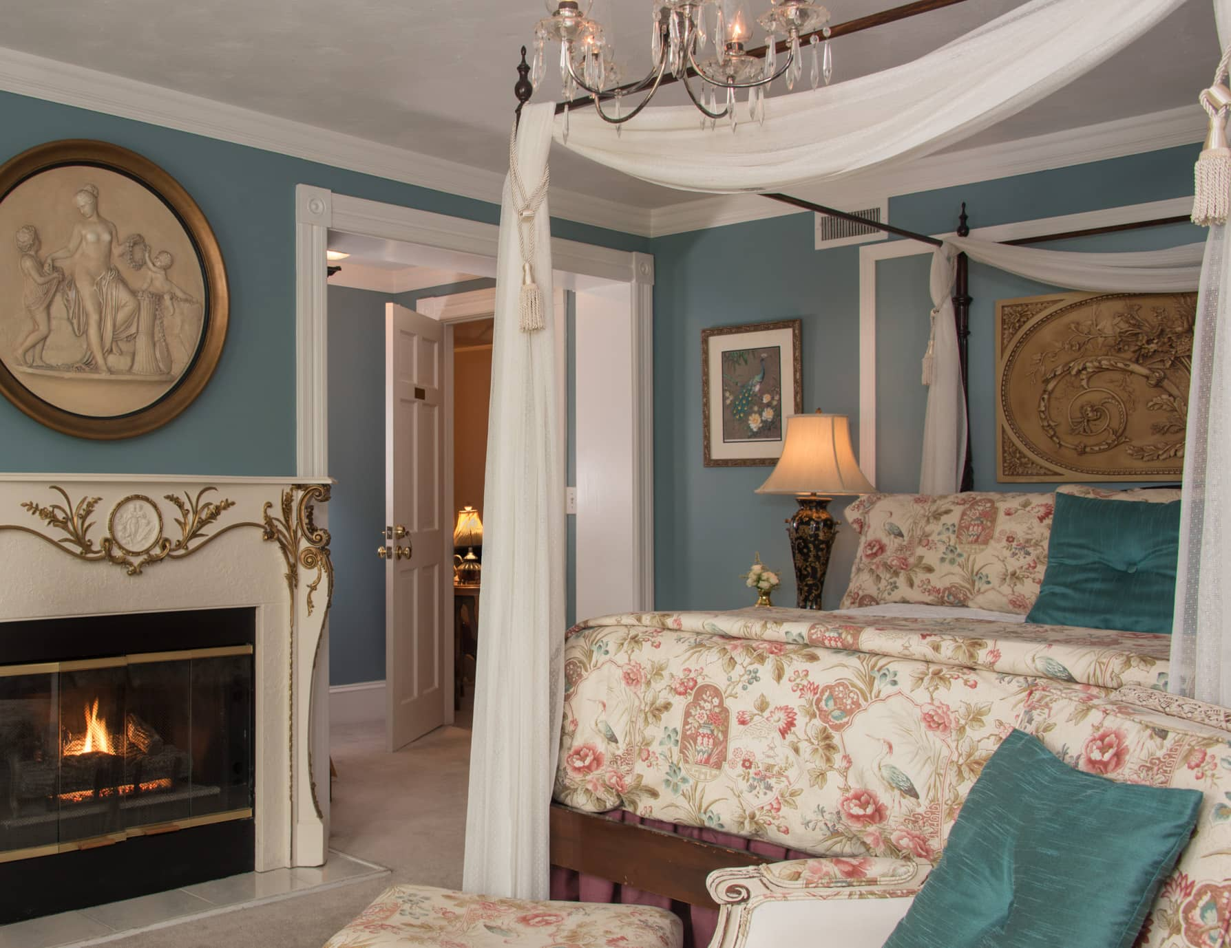 Queen Bed and Cozy Fireplace at Our Roanoke Island B&B