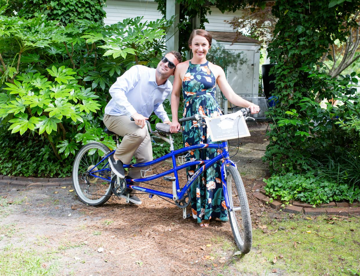 Couple on a Tandem Bike at Our Outer Banks NC Wedding Venue