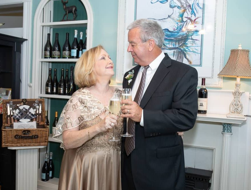Couple Toasting at Outer Banks Wedding