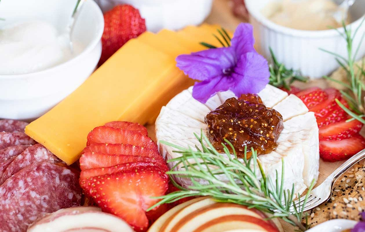 Cheese, charcuterie and fruit tray