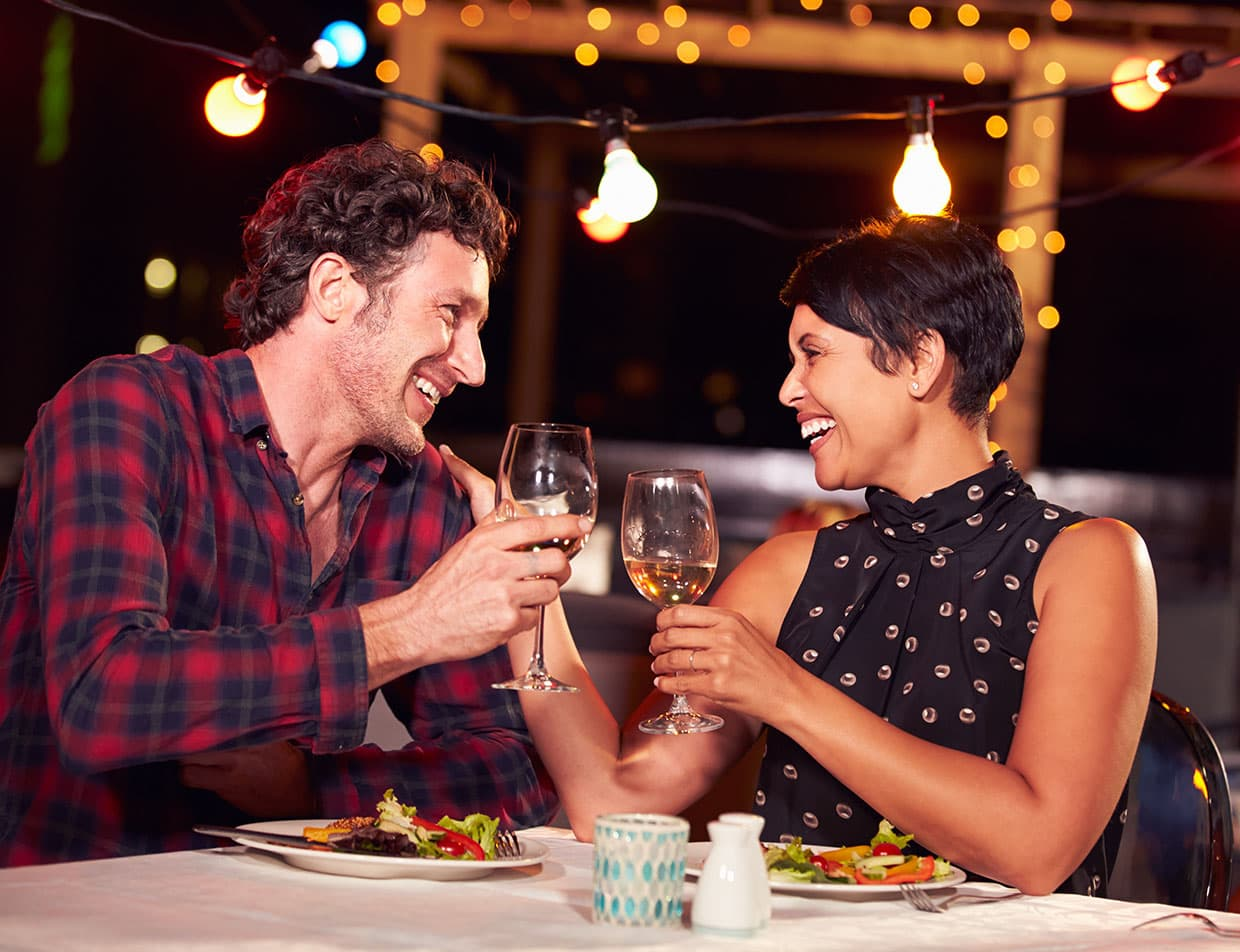 Couple Drinking Wine at an Outer Banks Restaurant