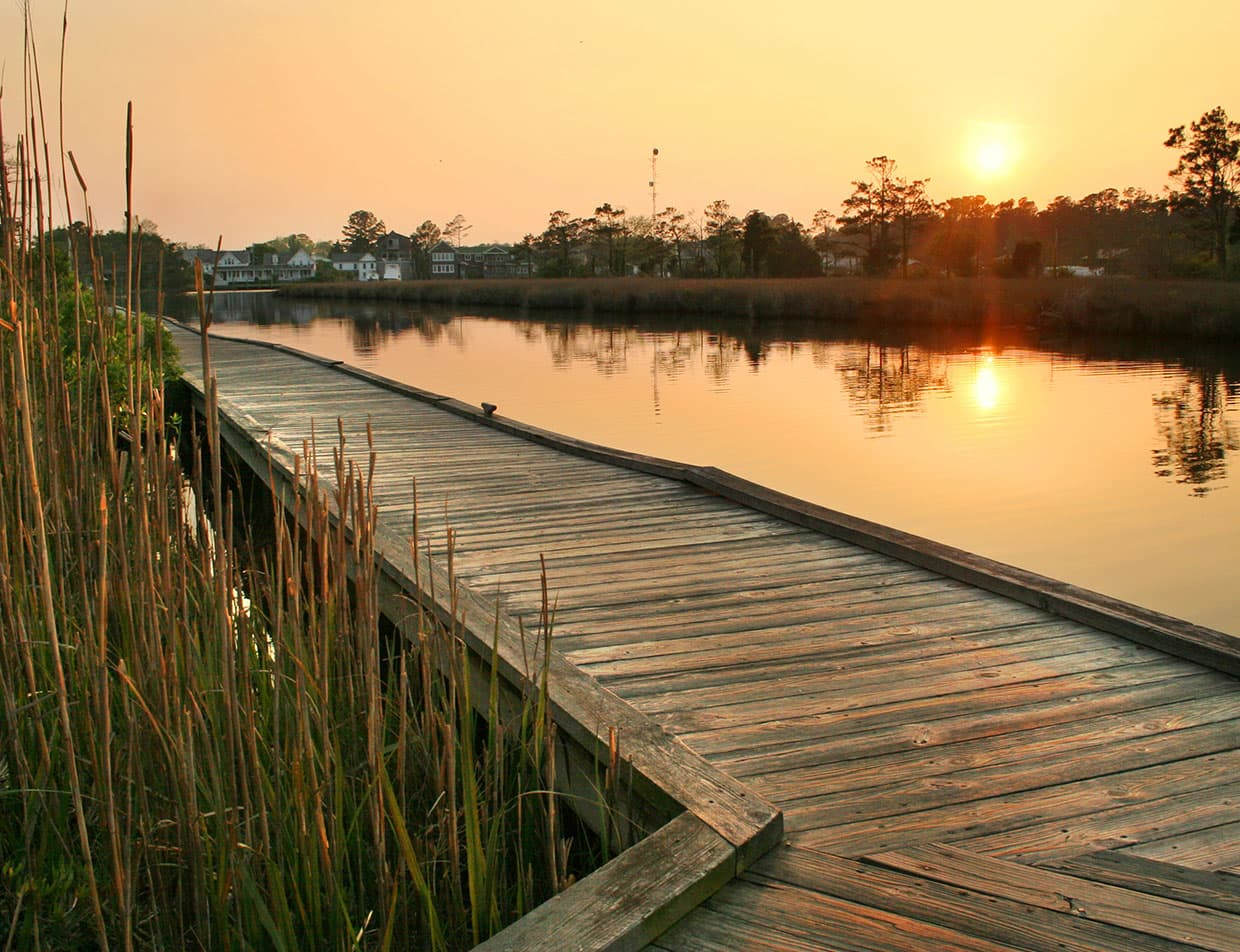 Manteo, NC Boardwalk at Sunset