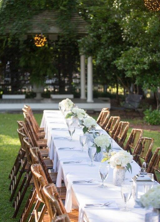 Outdoor table during wedding in Manteo