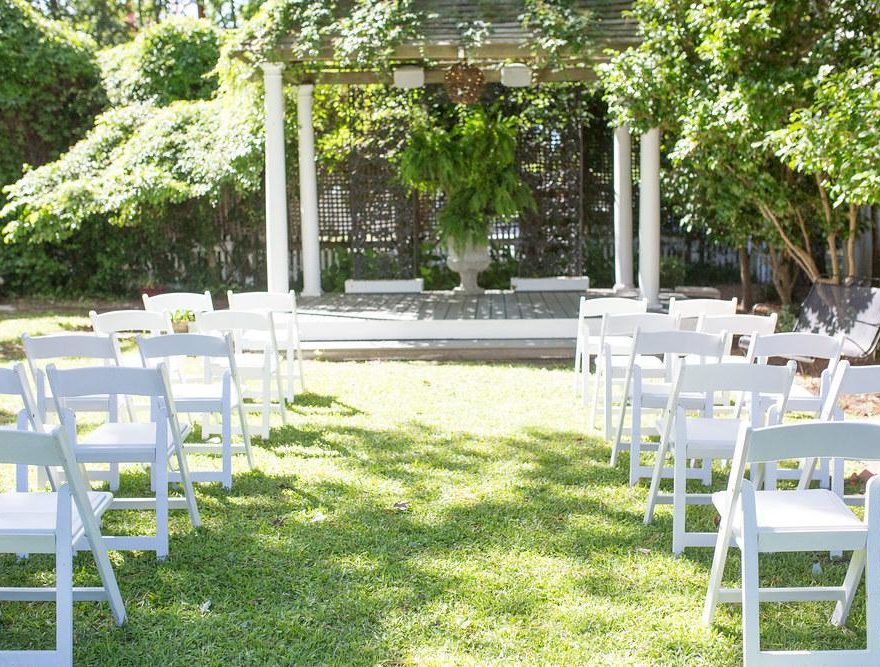 Chairs set up for garden wedding on the Outer Banks