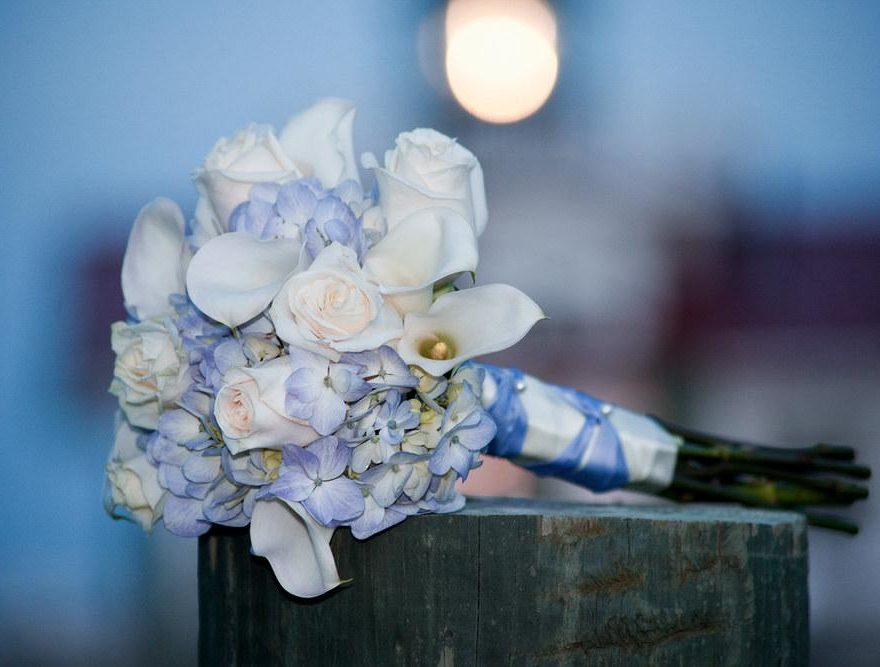 Purple and white bridal bouqet