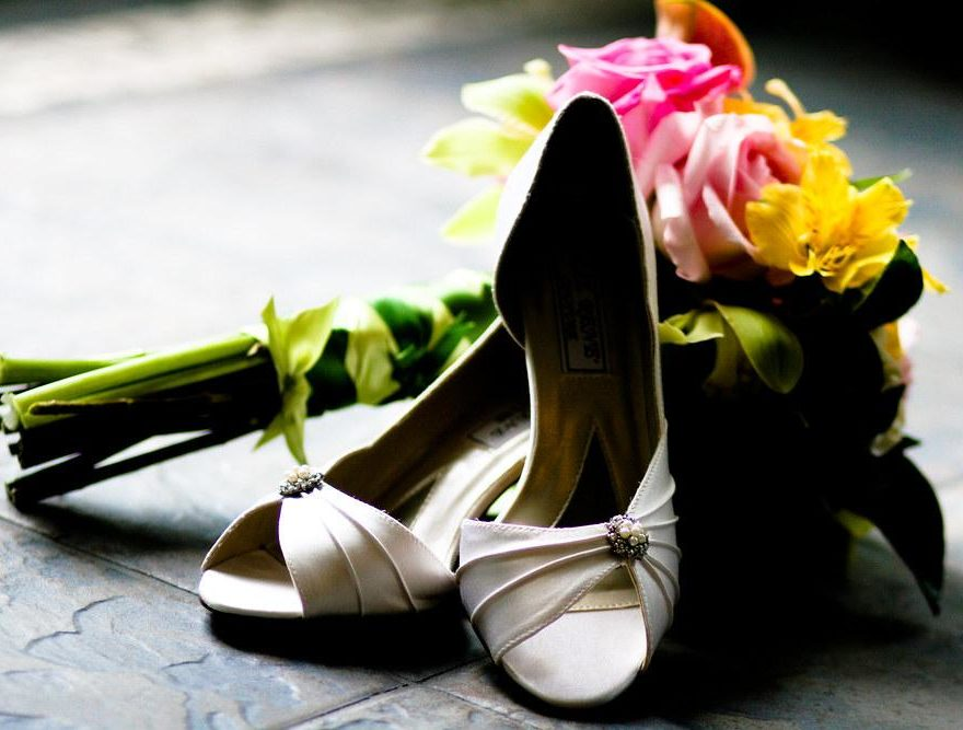 OBX wedding shoes and bouquet