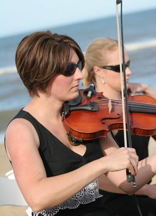Violinist on beach wedding on the Outer Banks