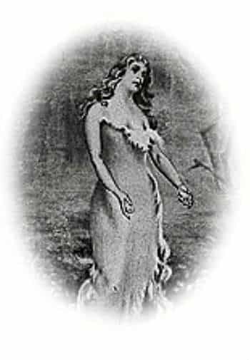 An old black and whtite painting of a woman reaching her arms out to sides