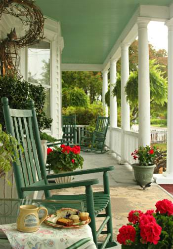 green chair on North Carolina B&B porch
