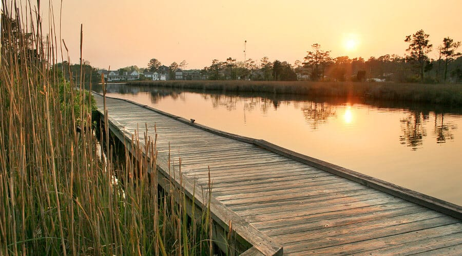 Outer Banks boardwalk by the water at White Doe Inn
